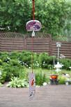 Ceramic Wind Chime, Pink Fan, 7cm